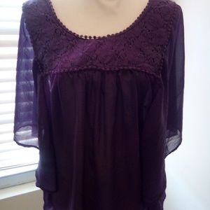 Pure energy ruffled/layered sz 3 blouse top